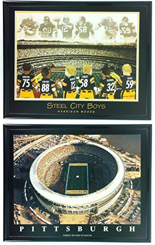 Football Steel City Boys Legends Three Rivers Stadium Framed Set of 2 - Stadium Three Rivers Football