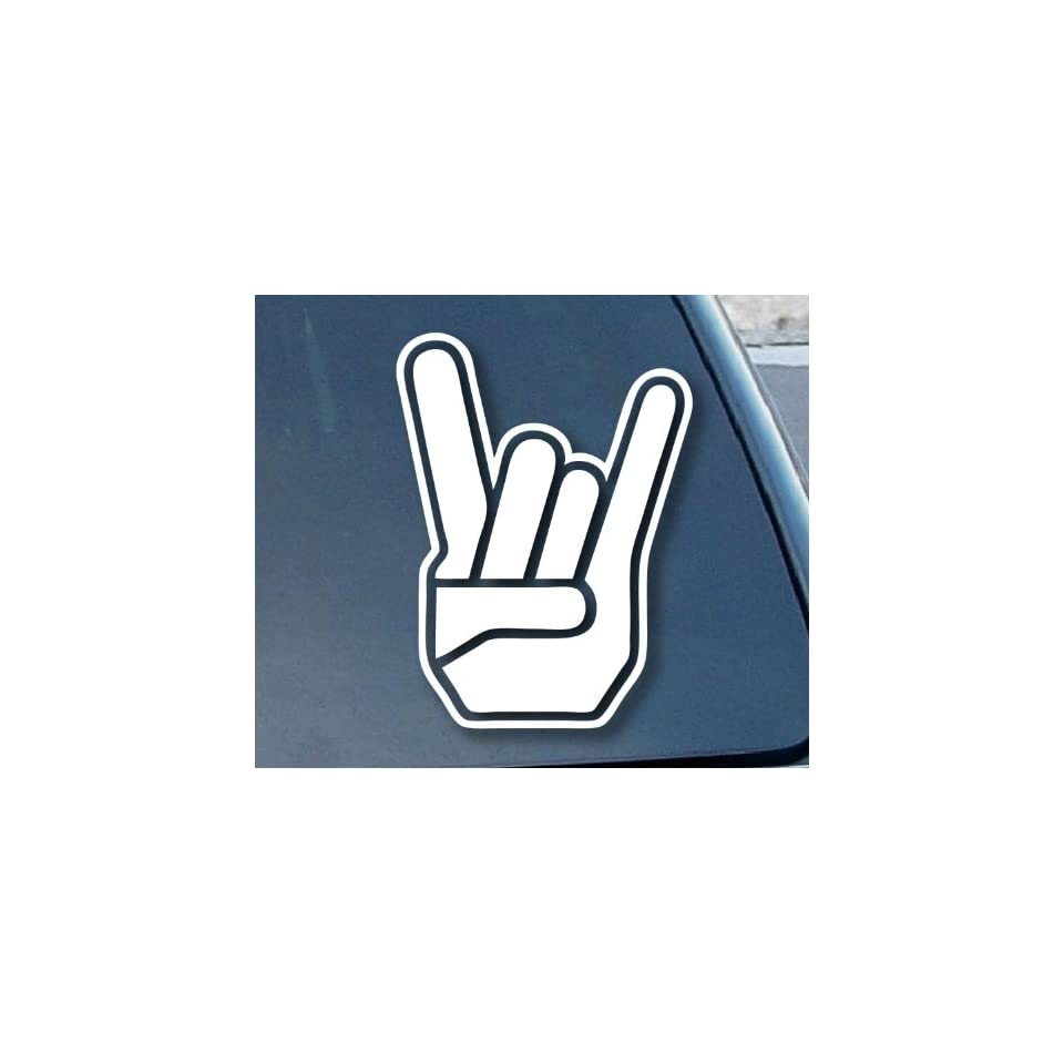 ROCKER HAND Heavy Metal Horns 8 (color WHITE) Vinyl Decal Window Sticker for Cars, Trucks, Windows, Walls, Laptops, and other stuff.