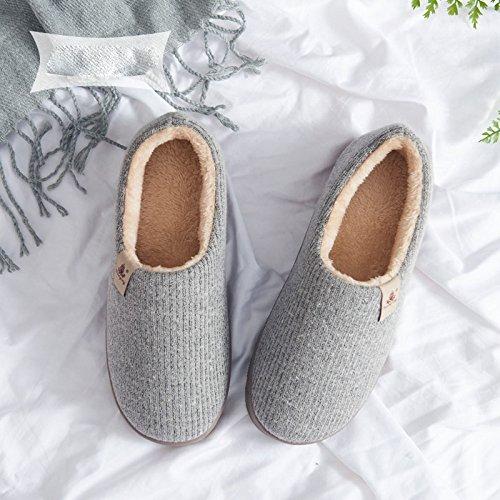LIGUQI@ Hommes Tout Compris avec Des Pantoufles de Coton Hiver Intérieur Plus Velours Fond Épais Pantoufles de Laine Chaude Maison Coton Chaussures Couple Féminin,Gris,38/39 verges