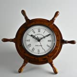 Handcrafted Wooden Ship Wheel Wall Clock by STAR INDIA CRAFT - Wall Decor Natural Nautical Sailor Wheel, Premium Wall Decorative Ship Wheel with Roman Dial (12'' Inches With 6'' Inches Dial)