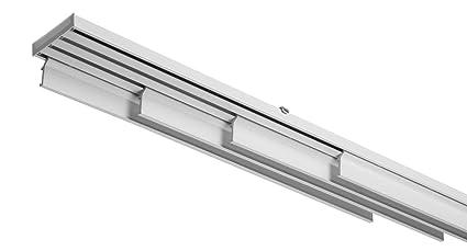 Tende Pannello Binario.Binario Sistema Bastone Per Tende A Pannelli Interamente In Alluminio Bianco Movimento A Corda 4 Pannelli Varie Misure 230 Cm