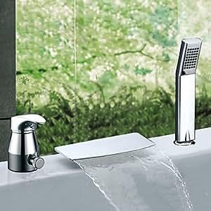 XY dos toreinforced efecto cascada grifo de la bañera contemporáneo cromado con ducha de mano