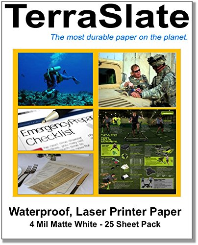 TerraSlate Paper 4 MIL Waterproof Laser Printer/Copy Paper 8.5' x 11' 25 Sheets