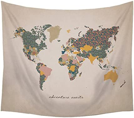 Stratton Home Decor S07749 Adventure Await Map Wall Tapestry, 57.50 W x 0.03 D x 50.00 H, Multi