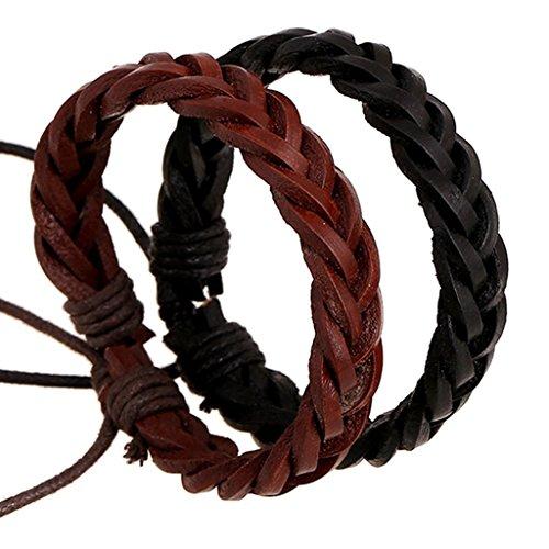 [Bishilin Woven Retro Light Brown Leather Cuff Wrap Bangle Bracelets] (Diy Woman Wolf Costume)