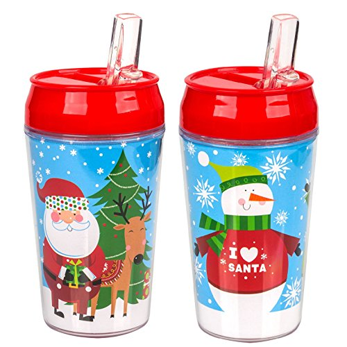 (Set of 2 Holiday Themed Double Wall Plastic Tumblers with Flip-up Straws (Winter)
