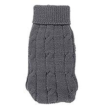 Pet Chihuahua Twisted Knit Ribbed Cuff Turtleneck Apparel Sweater Gray Size XXS