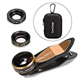 COOCHEER Magnetic Fisheye Camera Lens 3 in 1 Kit 198 Degree Clip On Fisheye Lens,15x Macro Lens 0.63x Wide Angle Lens for Iphone, Camera, Laptops, Ipads(Gold)