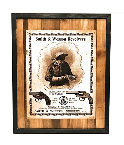 Smith And Wesson Metal Frame - Vintage Smith & Wesson Revolvers Metal Sign Wood Frame