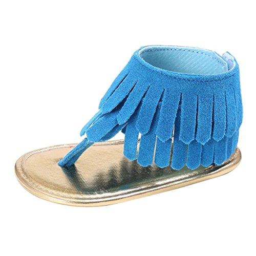 Tefamore Zapatos Sandalias de Borla de recién nacido Suela blanda Antideslizante para niños pequeños Bebé Sneakers Azul