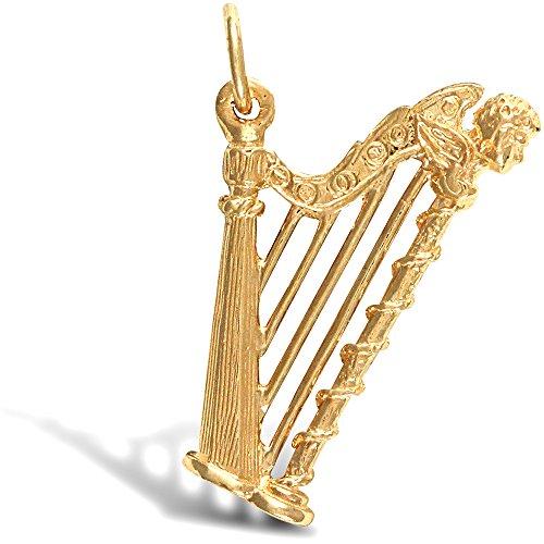 Jewelco Londres 9K solide musique en or jaune harpe complexe charme pendentif