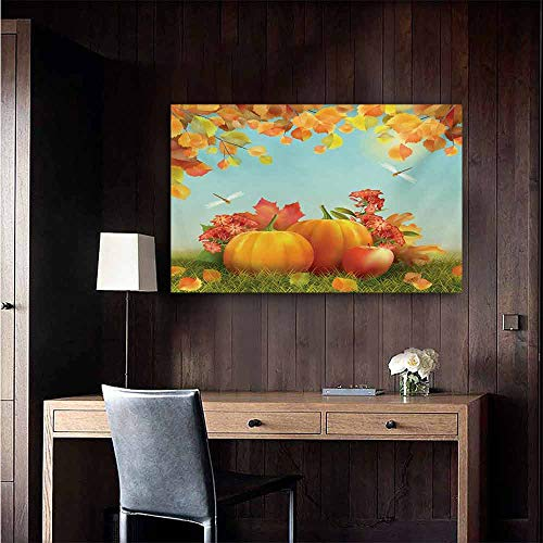 duommhome Harvest Abstract Painting Fall Season Yield Thanksgiving Image Fallen Leaves Branches Pumpkins Natural Art 24