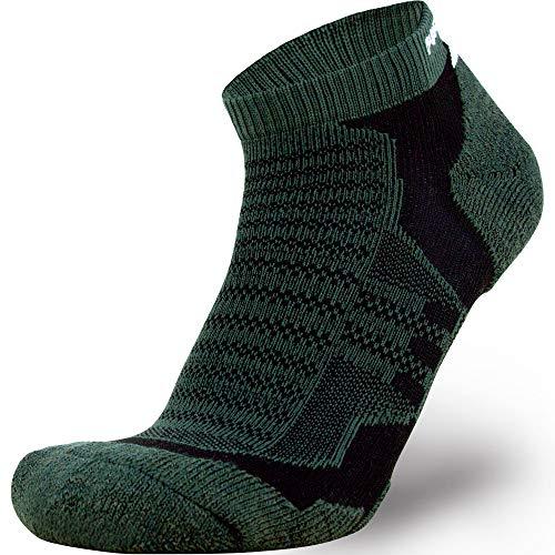 (Merino Wool Socks Men and Women - Low Cut Cushioned Athletic Running Sock, Moisture Wicking (1 Pair - Highland Green/Black,)