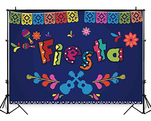 (Funnytree 8X6ft Mexican Fiesta Theme Photography Backdrop Mexico Foster Guitar Party Background Cinco de Mayo Colorful Flags Flowers Banner Dress up Cake Table Decoration Photo Booth Props)