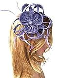 Biruil Women's Fascinator Headband Imitation Sinamay Feather Tea Party Flower Derby (Purple)