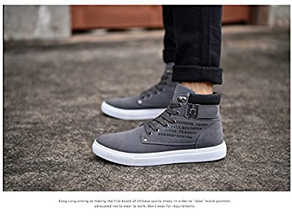 tazimall Hot Male Fashion Spring Autumn Men Casual High Top Shoes Canvas Sneakers Leather Shoes Size 10 Coffee Grey e4cWGAgQ5l
