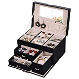 BEWISHOME Jewelry Box Organizer with Lock 3 Drawers Portable Jewelry Display Storage Case with Mirror Earring Ring Necklace Holder for Women Girls - Black Faux Leather SSH78B