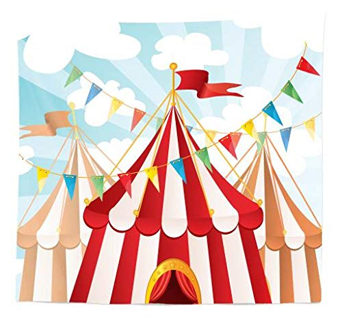 - Ambesonne Circus Tapestry Queen Size, Circus Stripes Sunshines Through Cloudy Sky Traditional Performing Arts Theme, Wall Hanging Bedspread Bed Cover Wall Decor, 88 W X 88 L Inches, Blue White Red