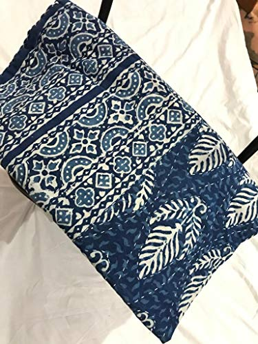 AMERCRAFTBAZAAR Blue Designer Printed Indian Kantha Hand Blocked Queen Size Kantha Quilt, Kantha Blanket, Bed Cover, Bedspread, Bohemian Bedding 90108