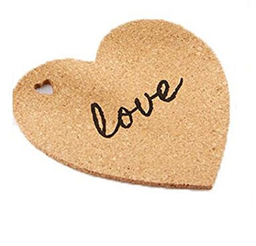 Set of 10 Heart Shaped Cork Coasters with Love inscribed on them - The perfect gift, wedding reception table decoration, bridal party favors, or to keep for yourself! by Jolly Jon Products