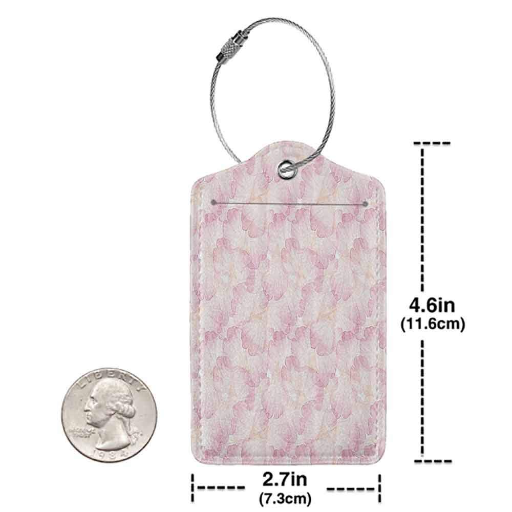 Printed luggage tag Pastel Soft Pink Flower Petals Watercolor Painting Style Rose Blossom Romantic Gentle Protect personal privacy Light Pink White W2.7 x L4.6