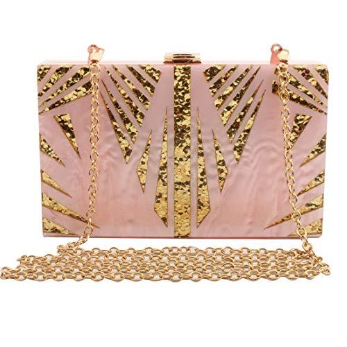 LETODE Evening Handbag Box Acrylic Clutch Stripes Shoulder Bag for Party Champagne Evening Bag (pink) ()