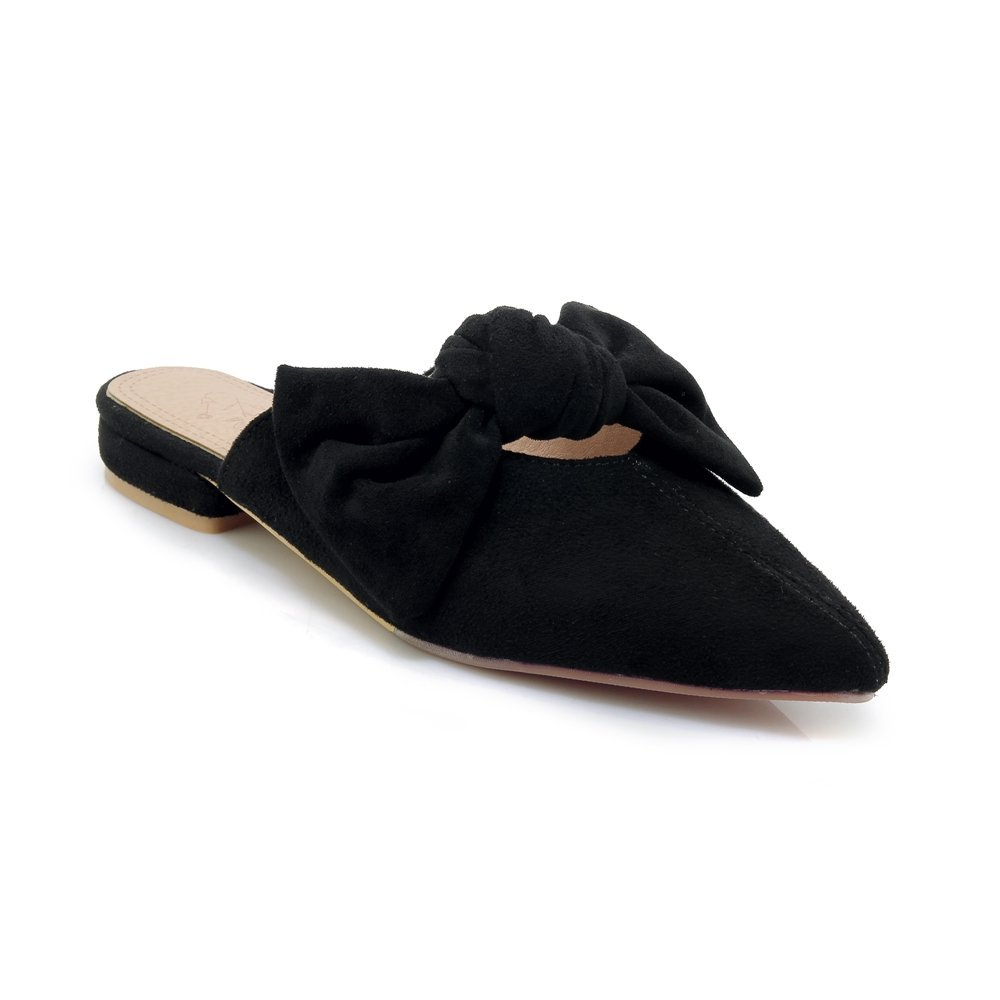 Cicime Women's Mules Bowknot Pointed Toe Backless Slip On Flat Loafers Slide Slippers Black Suede by Cicime (Image #5)