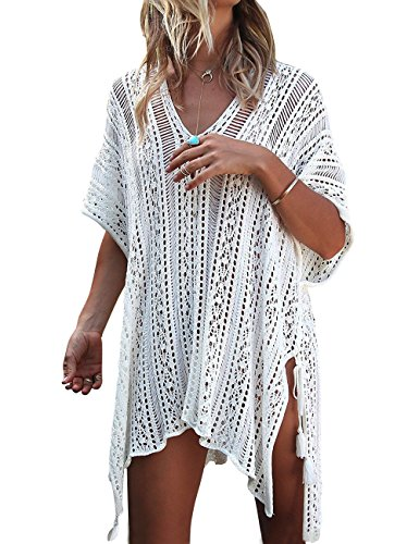 (shermie Swimsuit Cover ups for Women Women's V-Neck Hollow Out Swimwear Swimsuit Cover Ups Knitted BeachCover Ups Dresses Cream White)
