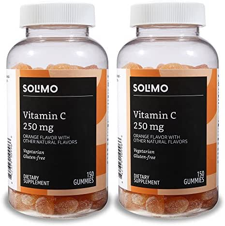 Amazon Brand - Solimo Vitamin C 250mg, 150 Gummies, 2 Gummies per Serving (Pack of 2)