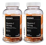 Amazon Brand - Solimo Vitamin C 250mg, 150 Gummies, 75-Day Supply (Pack of 2)