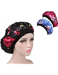 3 Packs Soft Satin Sleeping Cap Salon Bonnet Night Hat Hair Loss Chemo Caps for Women