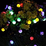 TechCode String Lights Outdoor, Solar Powered String Lighting with Globe LED Ball Waterproof Patio Lights 20Ft(6M) Yard Lamp for Party Wedding Garden Backyard Deck Yard Pergola Gazebo(Multi Colorful)