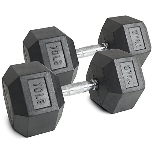 Pair 70 lb Black Rubber Coated Hex Dumbbells Weight Training Set 140 lb Fitness Review