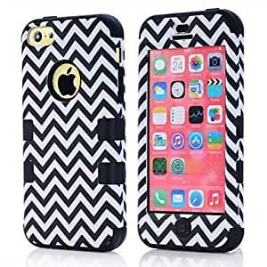 The Wave Design Hybrid Heavy Duty Impact Rugged Hard Case Cover Full Body for iPhone 5C , Rose