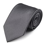 Mens Necktie Classic Striped Neckties, 54'' Long Polyester Solid Grey Neck Tie, Seasonless Formal Casual Business Necktie