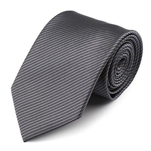 Mens Necktie Classic Striped Neckties, 54'' Long Polyester Solid Grey Neck Tie, Seasonless Formal Casual Business Necktie by Segbeauty