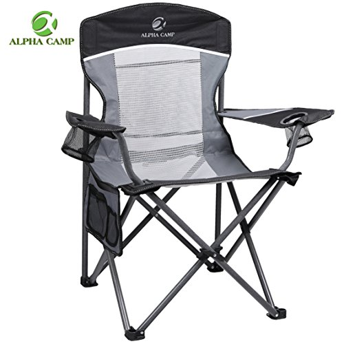 ALPHA CAMP Oversized Camping Chair Folding Portable Mesh Chair with Side Pocket and Cup Holder Support 350lbs, Black/Grey