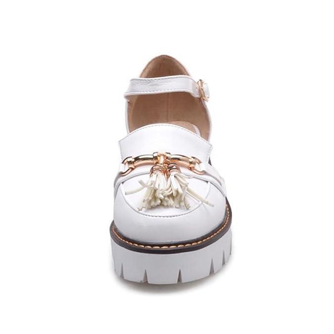 FANIMILA Mujer Moda Verano Cerrado Tacon Ancho Sandalias Chicas Colegio  Strappy Zapatos (43 EU c01ea996e0a4
