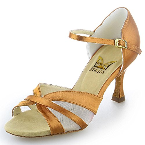 Super 7'' Heel Dance Women's 2056 Shoes Tan Latin 2 Jia Sandals Satin Color with Flared Mesh Nylon Jia zpqYwUW
