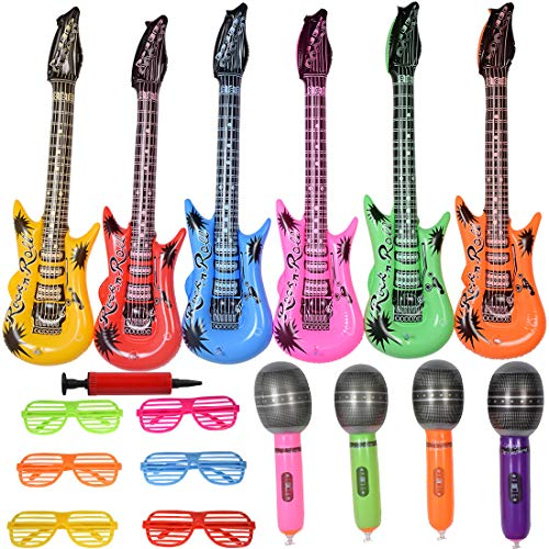 Max Fun Inflatable Rock Star Toy Set - 17 Pack Inflate Musical Instruments Kit, 6 Inflatable Electric Guitar, 4 Inflatable Plastic Microphone, 6 Shutter Shades Glasses, 1 Hand Held Air Inflator