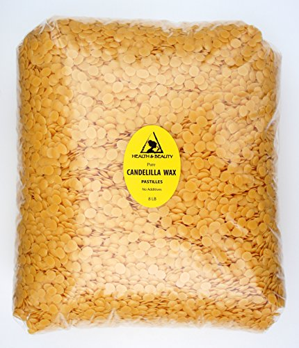 Candelilla Wax Flakes Organic Vegan Pastilles Beards Premium Prime Grade A 100% Pure 8 LB by H&B Oils Center Co.