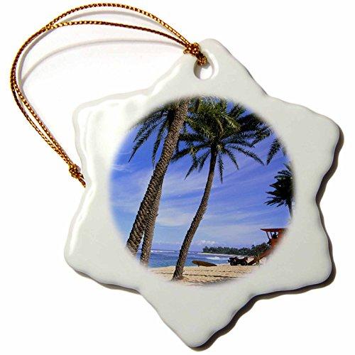 3dRose orn_89523_1 Sunset Beach North Shore Oahu Hawaii US12 DPB0059 Douglas Peebles Snowflake Porcelain Ornament, 3-Inch by 3dRose