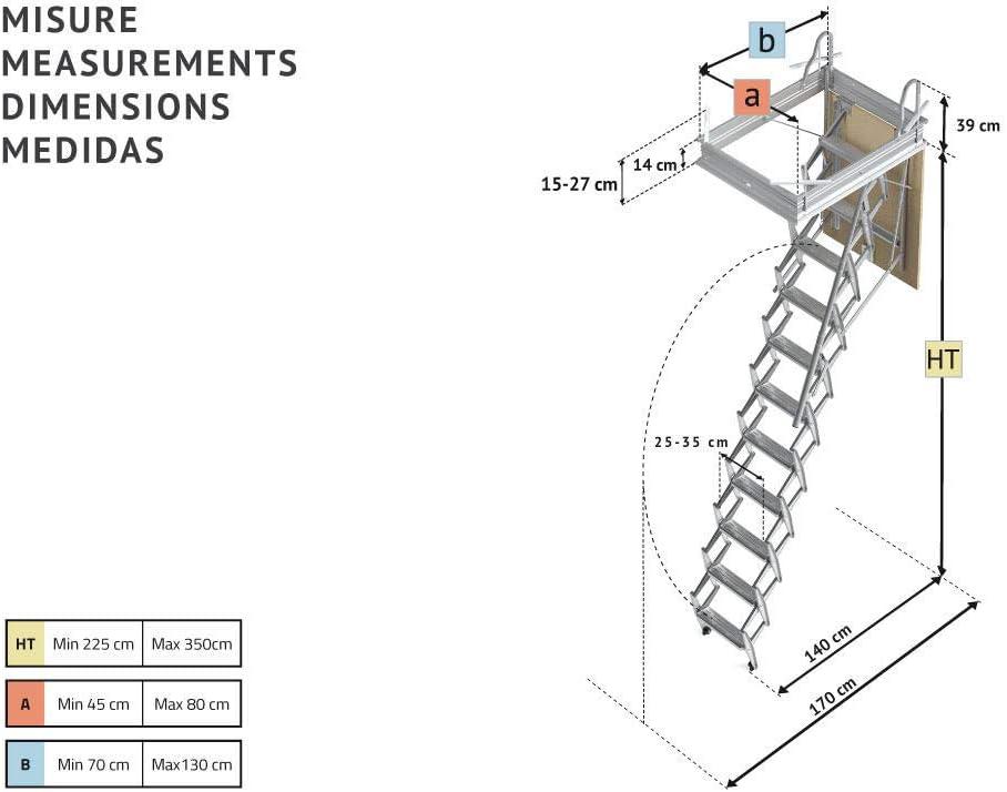 Mister Step escalier escamotable ADj trou dhomme Version avec trappe au plafond H 276/÷300 70 x 70 cm.