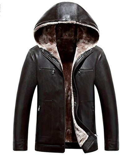 Trench Coat Outdoor RUIYUNS Hooded Lining Brown Sheepskin Parka Fur Winter Warm Faux Leather Men's Thick Jacket CRUzC7Prc