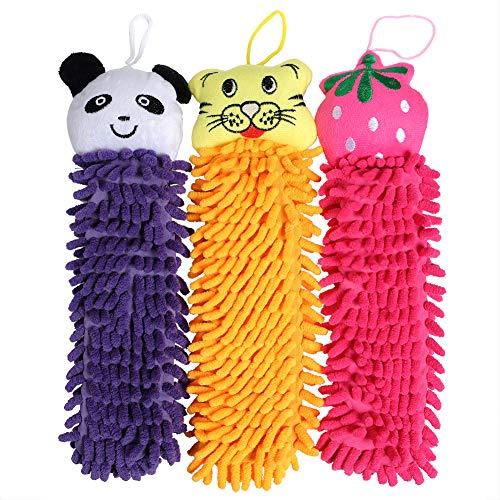Efreecity Kictchen Chenille Fiber Hand Towel 3 In 1 set(Cute Cartoon Tig Orange-Pig Pink- Panda Purple- Bear tan-Frog green,Cute Strawberr Fuxia) (Tig Orange-Panda Purple-Strawberr Fuxia) (Panda Hand Towel)