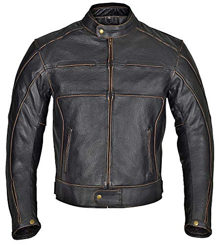 (WICKED STOCK Men Motorcycle Armor Leather Jacket Vintage Style Charcoal Dark Brown MBJ024 (3XL))
