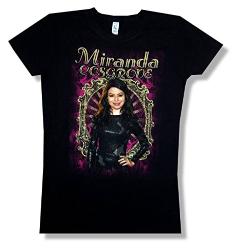 Miranda Cosgrove Mirror Pic Girls Juniors Black T Shirt (L)