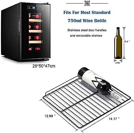Vinotecas,Inicio Termostato Vino Humectante Refrigerado por Aire Vinoteca Botellas Vertical Compresor Frigorifico con Panel Táctil Y Pantalla LED Temperatura Regulable Entre 5 Y 18°C
