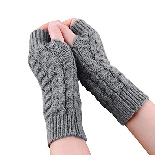 TIFIY Women Arm Gloves, Warm Long Fingerless Gloves Christmas Clearance, Girl's Wrist Arm Hand Warmer Cable Knit Mittens Fashion Solid Mittens Half Finger Arm Gloves, Christmas Gift for Ladies Girls …