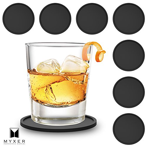 MYXER Drink Silicone Coasters Set of 8 - Protect Table From Water Marks, Scratch & Damage – Fits Any Size of Cup, Mug, Glasses - Easy to Clean, No More Wet Desk with Non Slip Good Surface Grip, Black